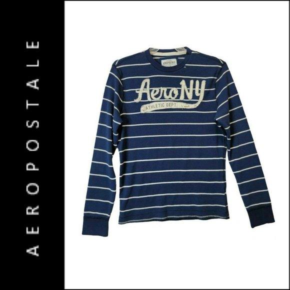 Aeropostale Men Knit Stripe Thermal Sweater Size L